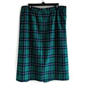 Vtg Pendleton Green Navy Plaid Skirt 16W